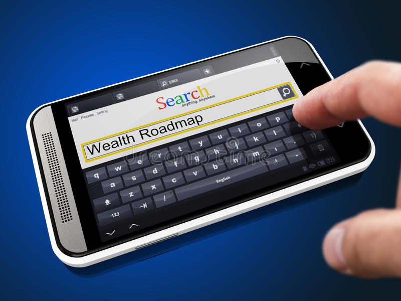 Wealth Roadmap in Search String on Smartphone. Wealth Roadmap in Search String - Finger Presses the Button on Modern Smartphone on Blue Background stock image