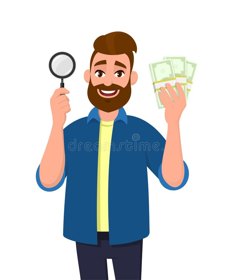 Wealthy bearded young man holding magnifying glass and cash, money, currency notes in hand. Search, find, discovery, analyze. royalty free illustration
