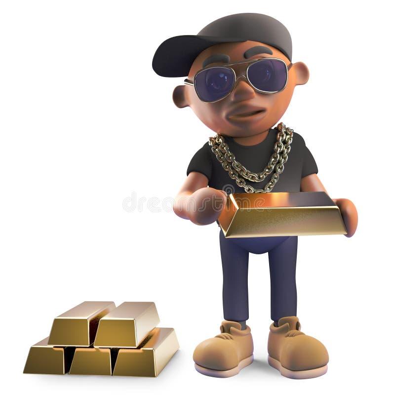 Wealthy black hiphop rapper in baseball cap counting his gold bars of bullion, 3d illustration. Render royalty free illustration