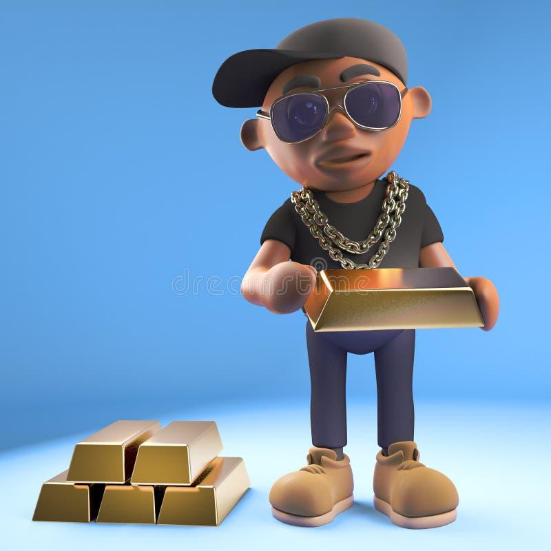 Wealthy black hiphop rapper in baseball cap counts his gold bullion bars, 3d illustration. Render stock illustration
