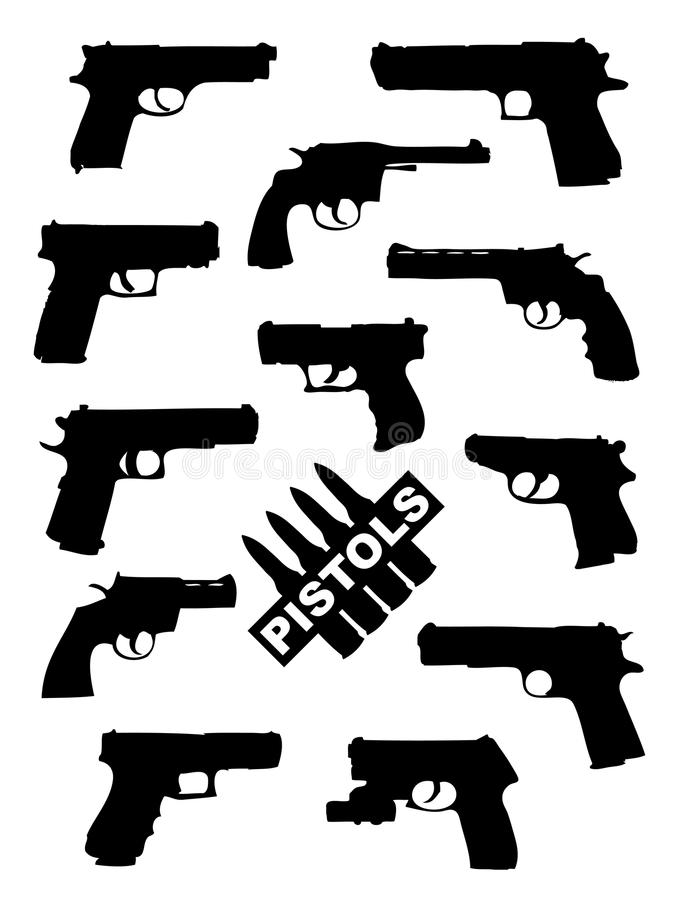 Weapon collection, pistols royalty free illustration