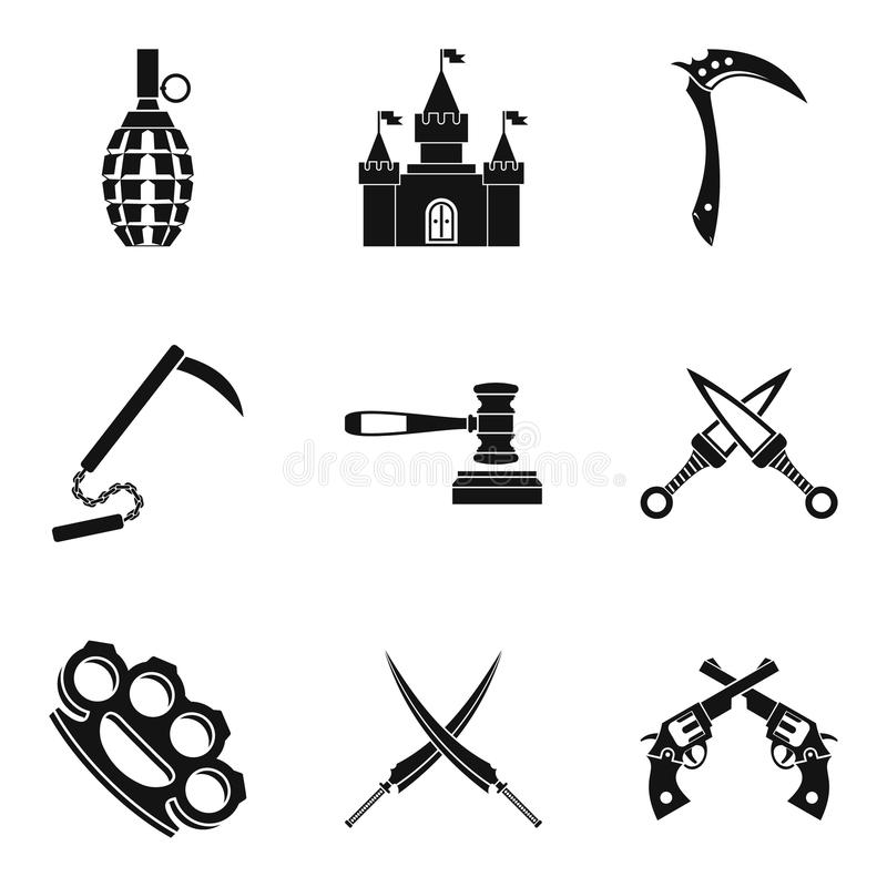 Weapon proficiency icons set, simple style. Weapon proficiency icons set. Simple set of 9 weapon proficiency vector icons for web isolated on white background stock illustration