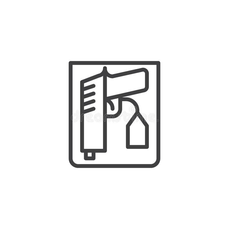 Weapon proof evidence line icon vector illustration