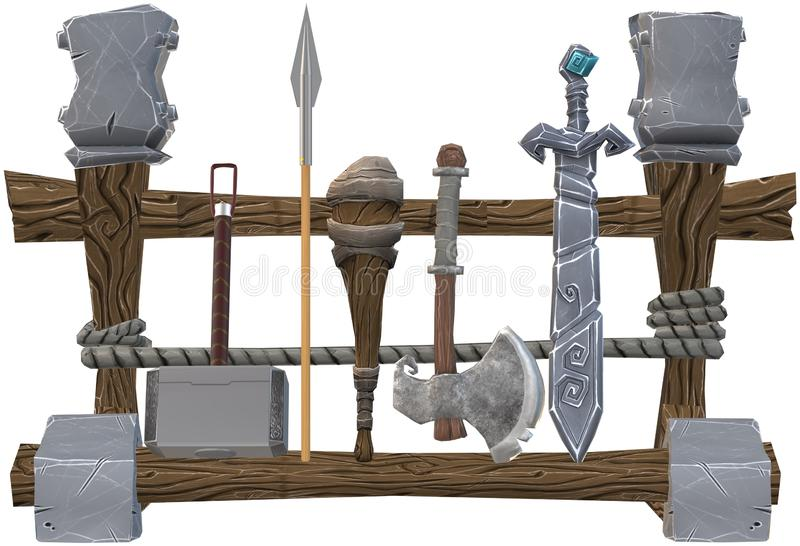 A weapon rack aligned with an assortment of ancient weapons. A computer generated illustration image of a weapon rack aligned with an assortment of ancient vector illustration