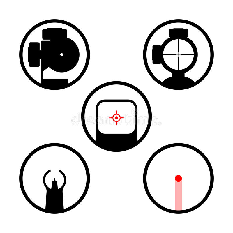 Weapon scope or gun sight icons set. Main types of firearms aiming devices: collimator, holographic, diopter, laser, optical, iron, crosshair. Weapon sights royalty free illustration