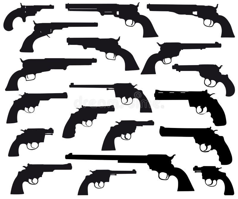 Weapon silhouett collection, revolvers stock illustration