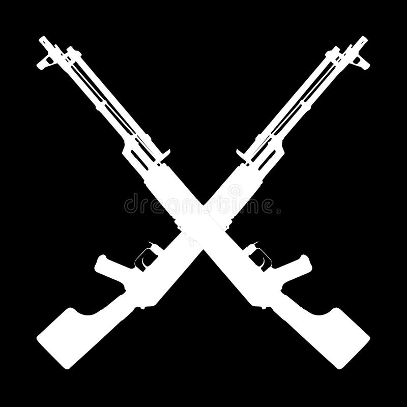 Weapon - Silhouette two crossed assault rifle royalty free stock photography