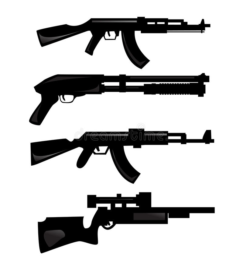 Download Weapon silhouettes stock vector. Image of outline, various - 17760327
