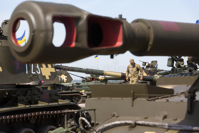 Weaponry and military equipment of the armed forces of Ukraine. KHARKIV REG., UKRAINE - Aug 23, 2015: Weaponry and military equipment of the armed forces of royalty free stock image