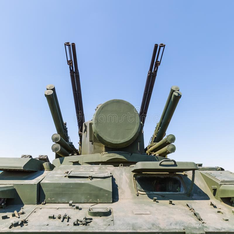 Weaponry of the Tunguska SA-19 Grison, Russian anti-aircraft weapon armed gun and missile system. KADAMOVSKIY TRAINING GROUND, ROSTOV REGION, RUSSIA, 26 AUGUST royalty free stock images