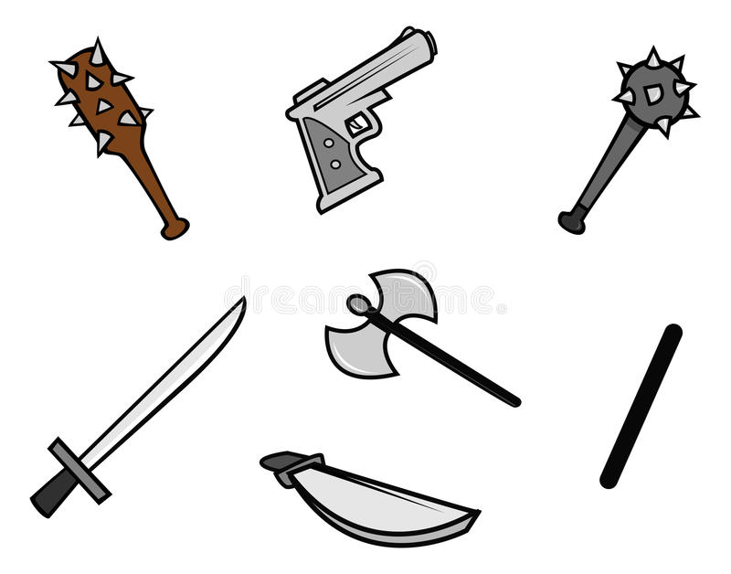 Download Weapons stock vector. Image of kill, pistol, cartoon - 19930099