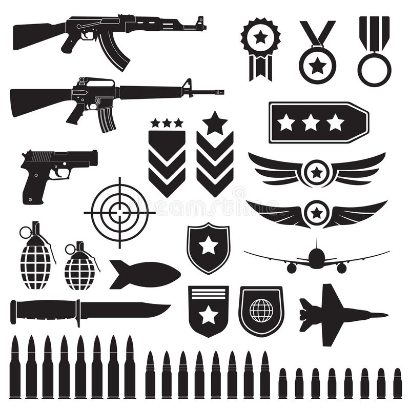 Free Weapons And Military Set. Sub Machine Guns, Pistol And Bullets Black Icons Isolated On White Background. Symbolics And Badge For A Royalty Free Stock Photos - 119953258