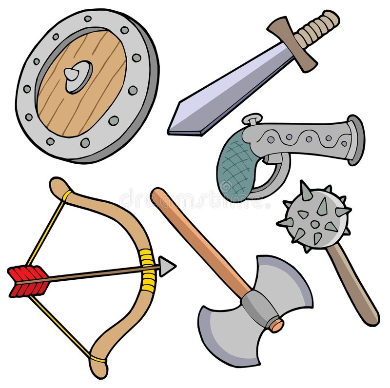 Weapons collection vector illustration