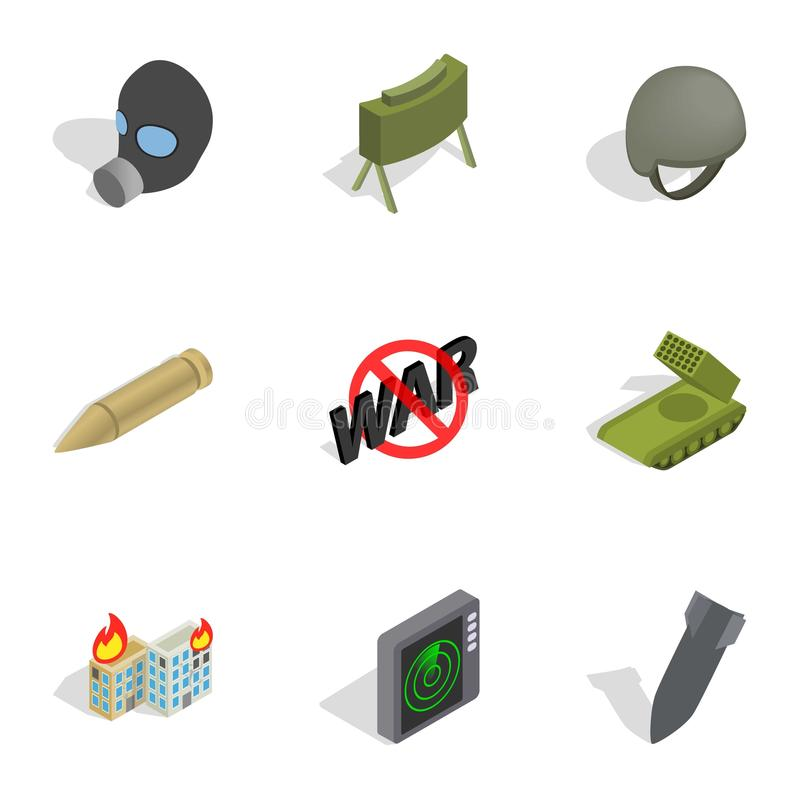 Weapons icons set, isometric 3d style. Weapons icons set. Isometric 3d illustration of 9 weapon vector icons for web royalty free illustration