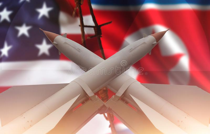 Weapons of mass destruction. Missiles with warheads. stock image