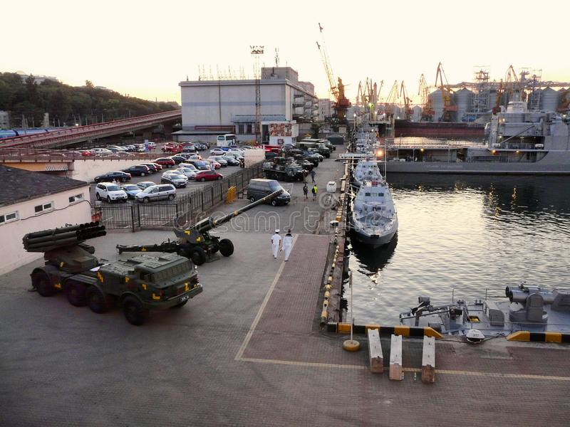 Weapons, military equipment, Marine Passenger Terminal, naval ships on the Sea Breeze in port Odessa, Ukraine - July 2019. Weapons, military equipment, Marine stock image