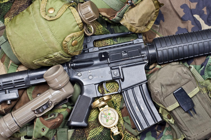 Weapons and military equipment. Of special operations forces soldier stock photography