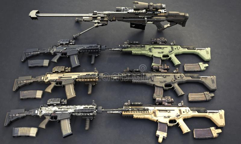 Weapons stash with automatic assault rifles and sniper rifle. vector illustration