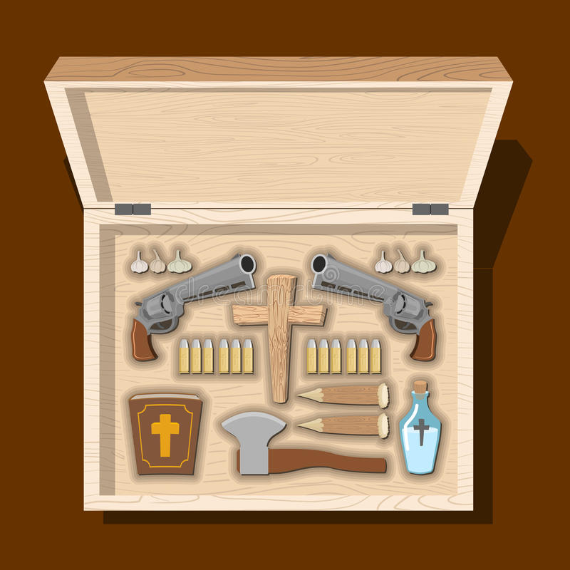 Weapons vampire hunter. Tools against undead in wooden box. Garl stock illustration