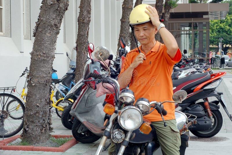 Wear a bike helmet royalty free stock photo