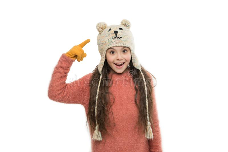 Wear every occasion. happy childhood. small girl in knitted hat and gloves. xmas holiday activity. funny child cosy stock photos