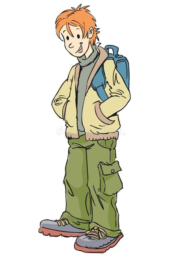 wear för blå pojke för påse tillfällig vektor illustrationer