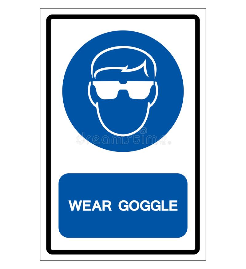 Wear Goggle Symbol Sign ,Vector Illustration, Isolate On White Background Label. EPS10 stock illustration