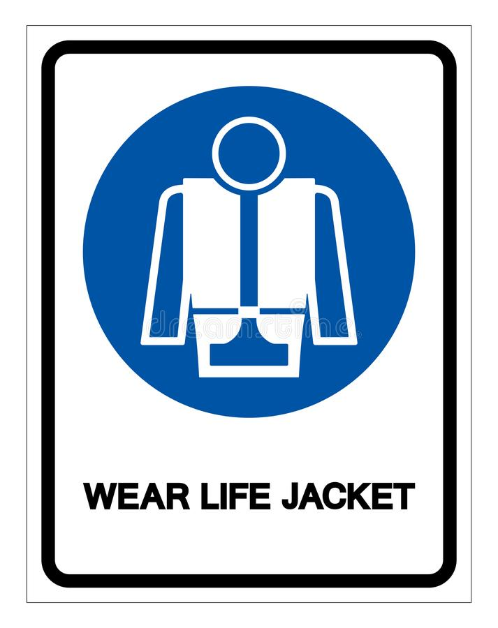 Wear Life Jacket Symbol Sign, Vector Illustration, Isolate On White Background Label .EPS10 stock illustration