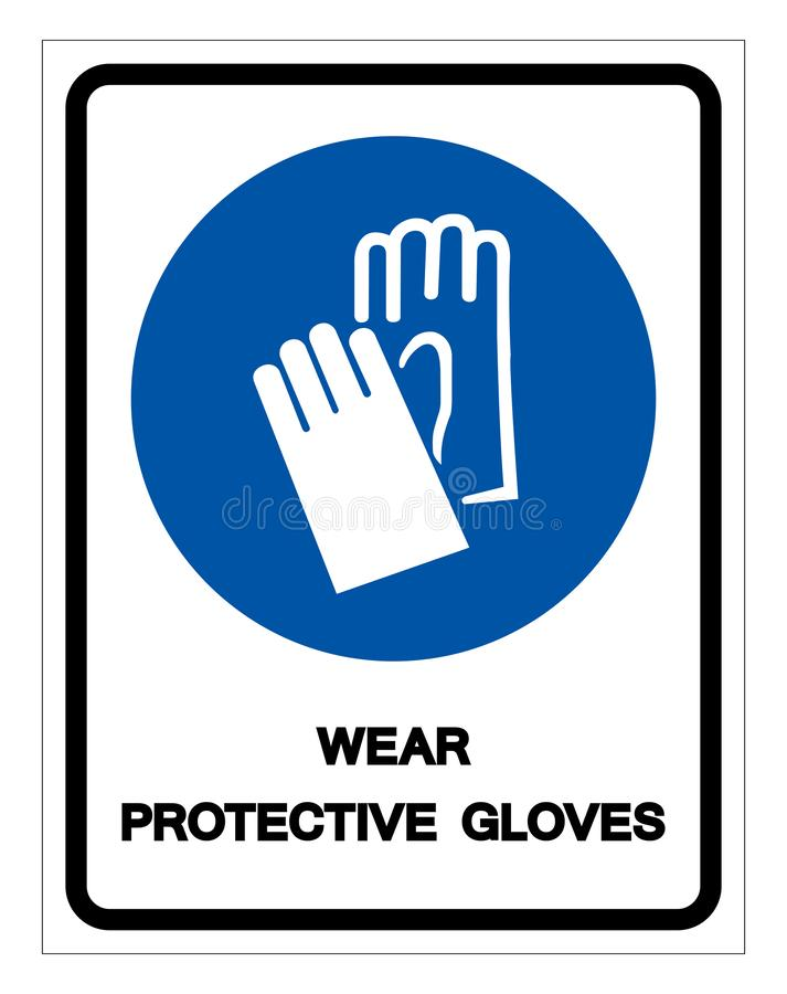 Wear Protective Gloves Symbol Sign, Vector Illustration, Isolate On White Background Label .EPS10 stock illustration