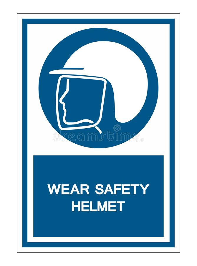 Wear Safety Helmet Symbol Isolate On White Background,Vector Illustration EPS.10. Protection, equipment, work, protective, industry, industrial, sign, head vector illustration