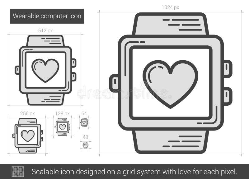 Wearable datorlinje symbol vektor illustrationer