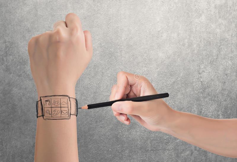 Wearable device concept. Of digital watch, hand drawing stock photos