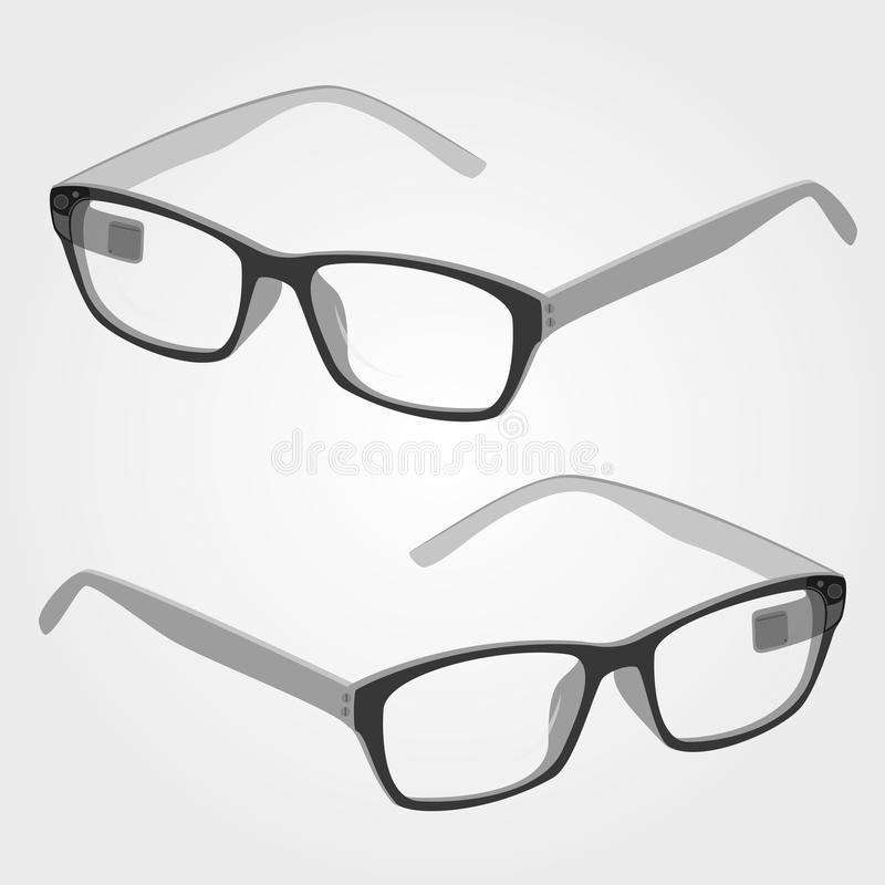 Wearable electronics smart glasses with camera and display stock illustration