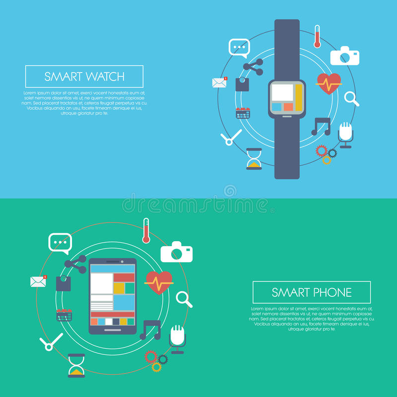 Wearable smart teknologiinfographicsmall stock illustrationer