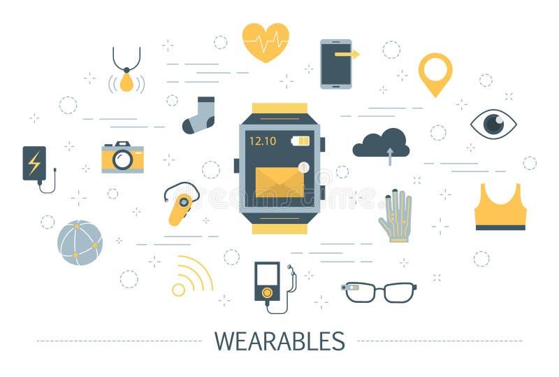 Wearable technologie voor een gezondheidszorg en een mededeling stock illustratie