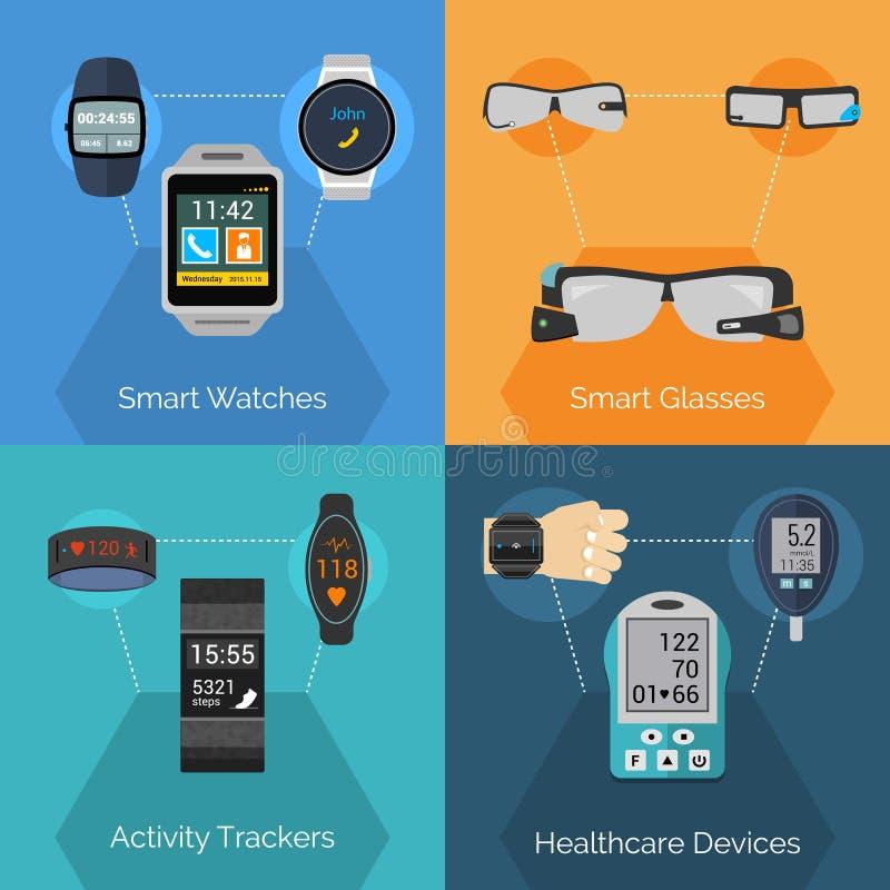 Wearable Technologiereeks vector illustratie