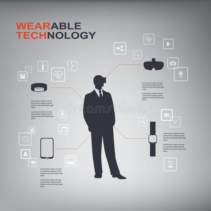 Wearable technology concept vector infographics with smart devices such as smartwatch, virtual reality, fitness tracker royalty free illustration