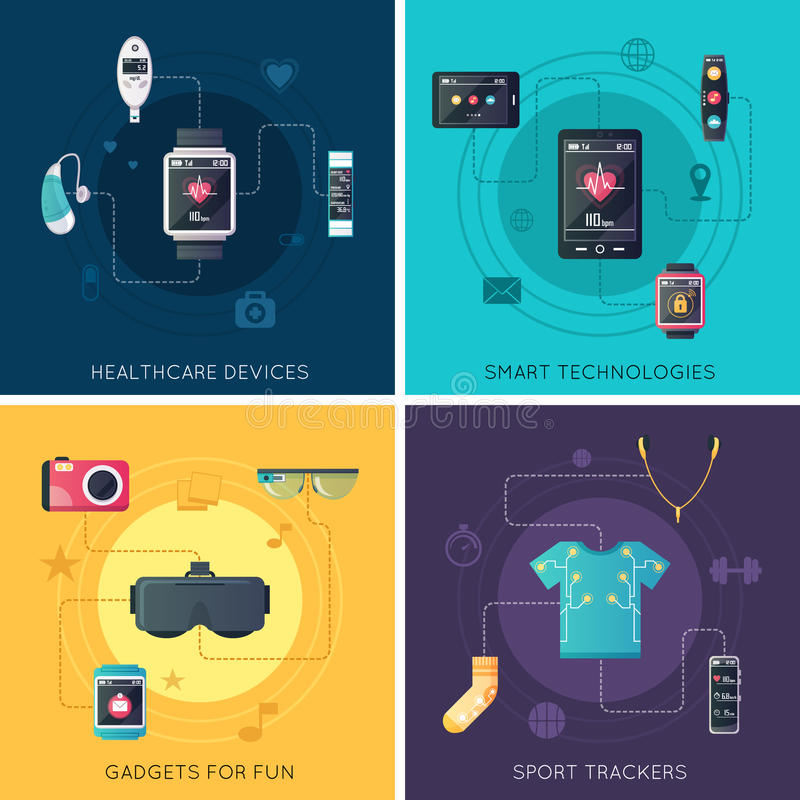 Wearable Technology 4 Flat Icons Square vector illustration