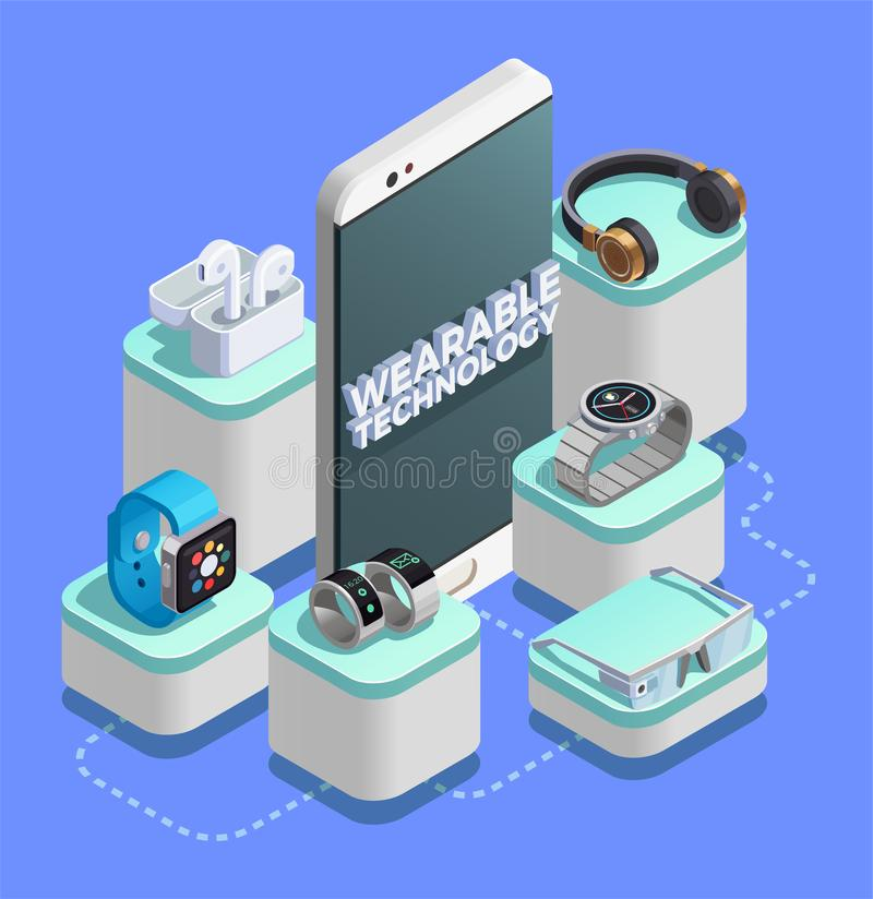Wearable Technology Isometric Composition. Wearable technology advanced sensor tracking activity gadgets isometric composition with smart watch rings ar glasses stock illustration