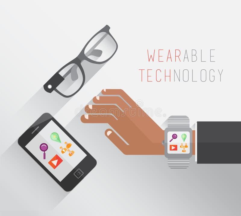 Wearable teknologi med exponeringsglas klocka och smartphone stock illustrationer