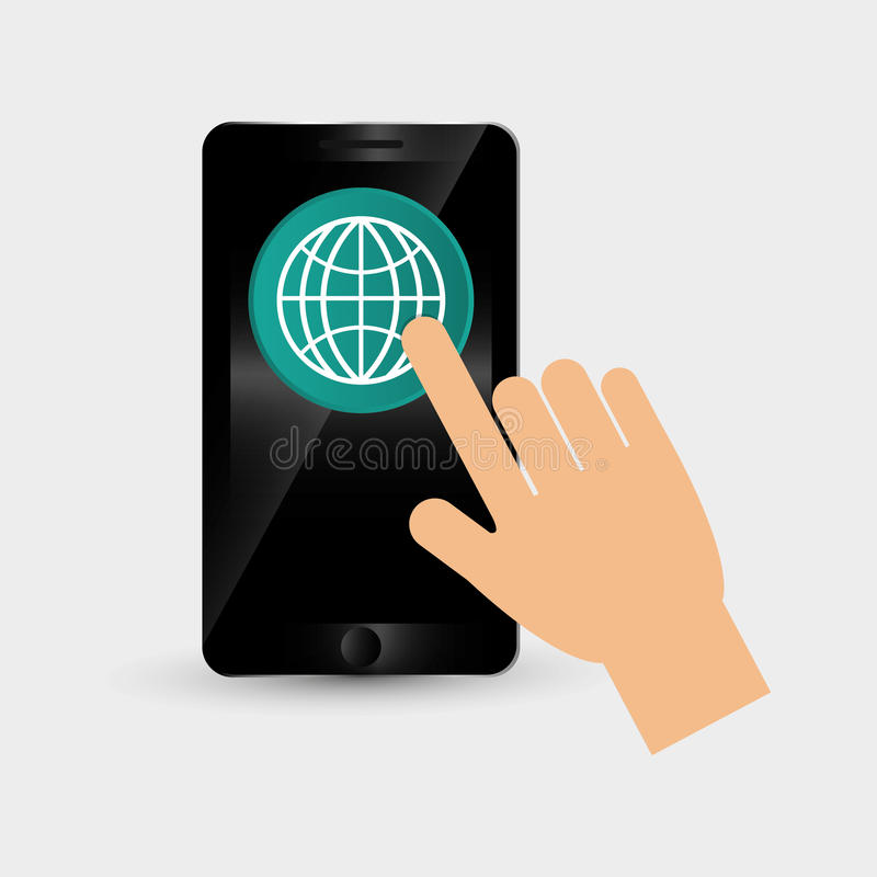 Wearable teknologidesign Social massmediasymbol smartphonebegrepp, vektorillustration stock illustrationer