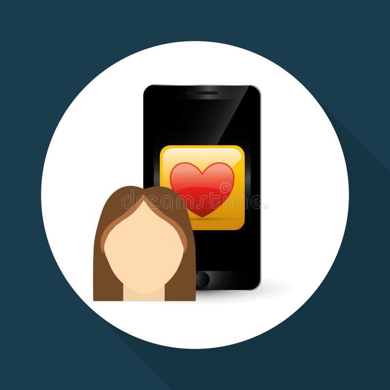 Wearable teknologidesign Social massmediasymbol smartphoneconcep, vektorillustration stock illustrationer