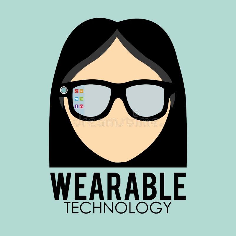 Wearable teknologidesign socialt massmedia symbol, vektorillustration vektor illustrationer
