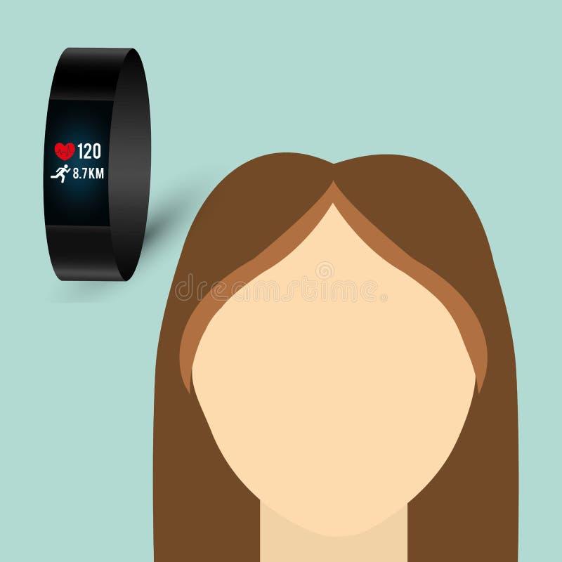 Wearable teknologidesign socialt massmedia symbol, vektorillustration royaltyfri illustrationer