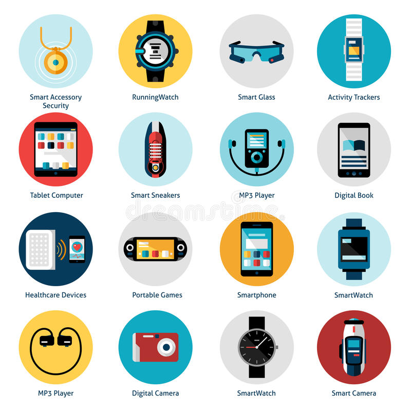 Wearable teknologisymboler stock illustrationer