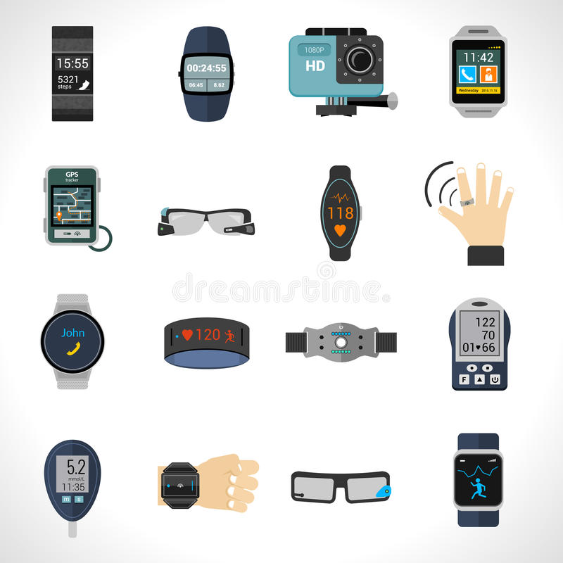 Wearable teknologisymboler royaltyfri illustrationer