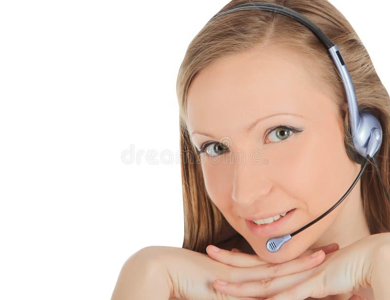 Weari fêmea novo do empregado do centro de chamada fotografia de stock royalty free
