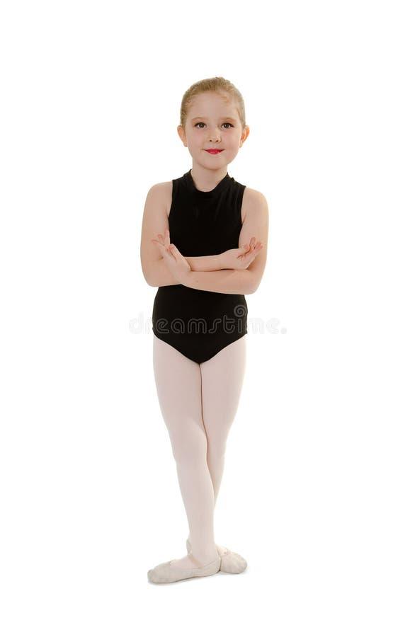 Wearing Dance Class för Chlid ballerinastudent dress royaltyfri fotografi
