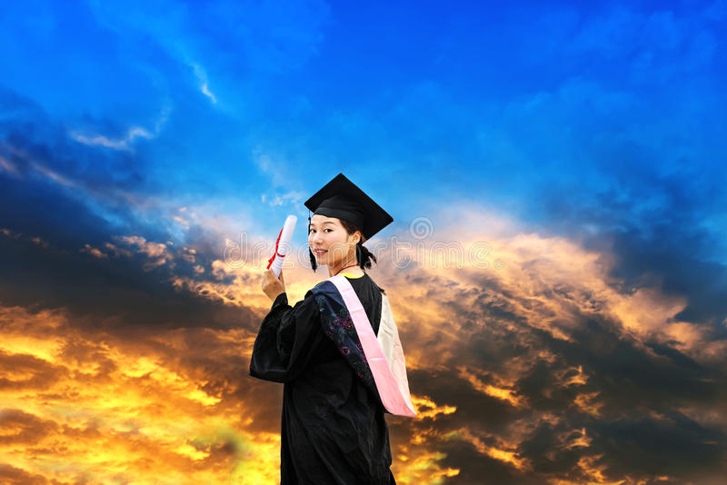 Wearing a doctoral graduation clothing students royalty free stock photography