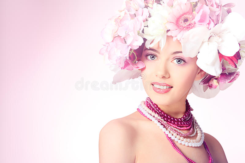 Wearing flowers royalty free stock image
